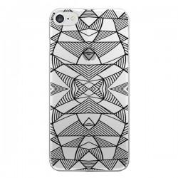 Coque iPhone 7/8 et SE 2020 Lignes Miroir Grilles Triangles Grid Abstract Noir Transparente - Project M