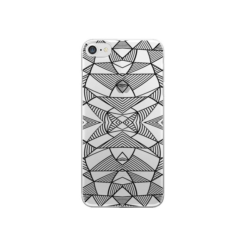 Coque iPhone 7 et 8 Lignes Miroir Grilles Triangles Grid Abstract Noir Transparente - Project M