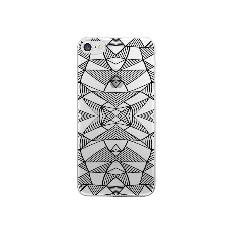 Coque Lignes Miroir Grilles Triangles Grid Abstract Noir Transparente pour iPhone 7 et 8 - Project M