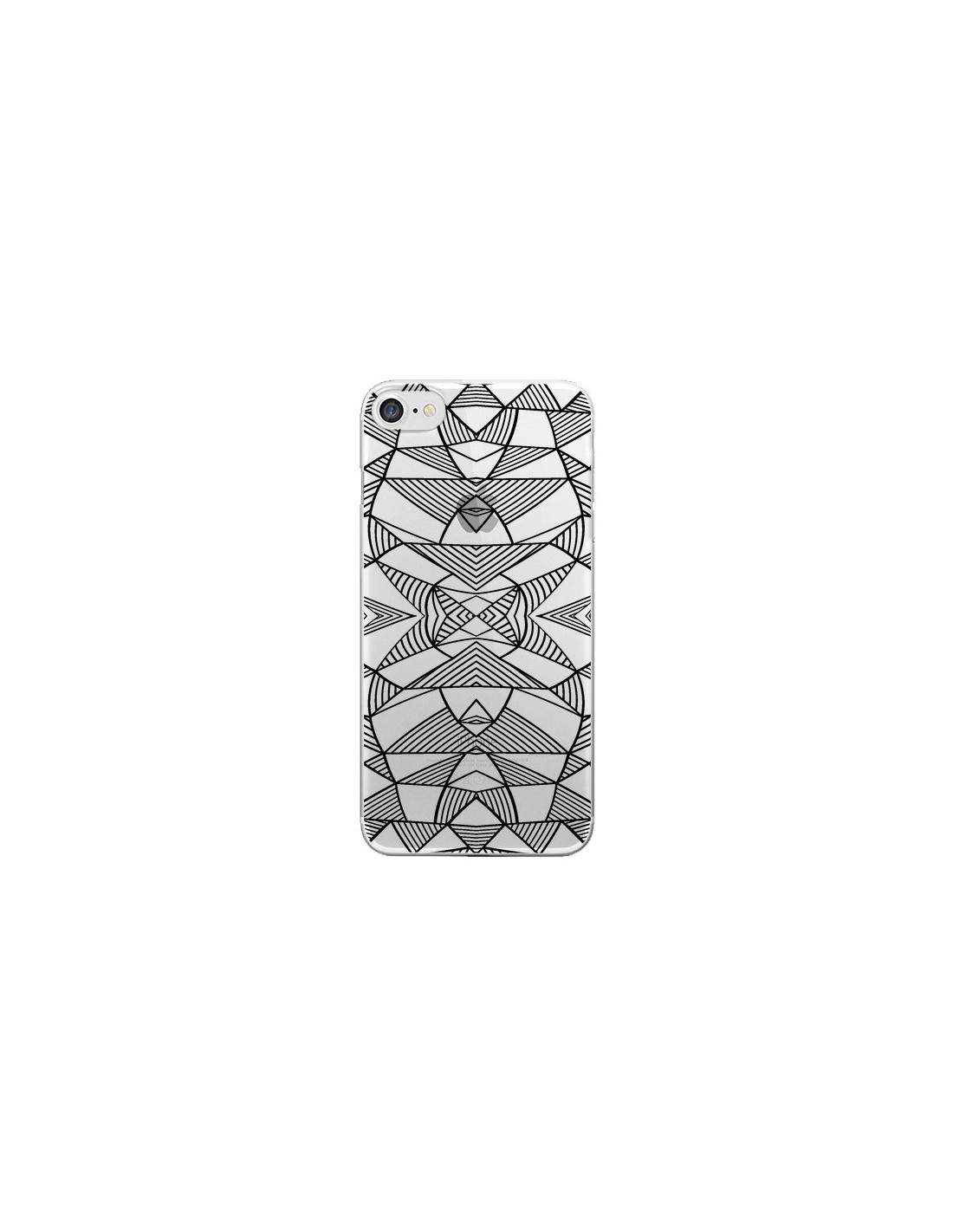 Coque lignes miroir grilles triangles grid abstract noir for Miroir yohan