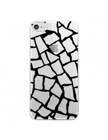 Coque Girafe Mosaïque Noir Transparente pour iPhone 7 et 8 - Project M