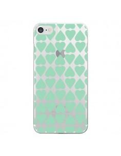 Coque Coeurs Heart Mint Bleu Vert Transparente pour iPhone 7 et 8 - Project M