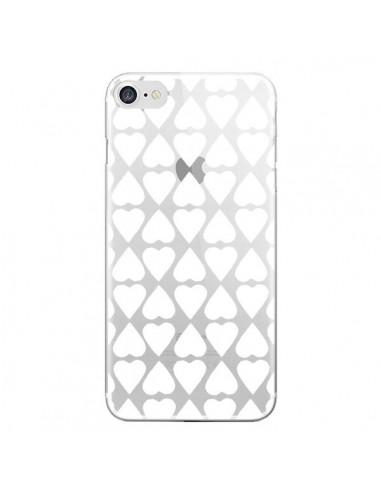 Coque iPhone 7 et 8 Coeurs Heart Blanc Transparente - Project M