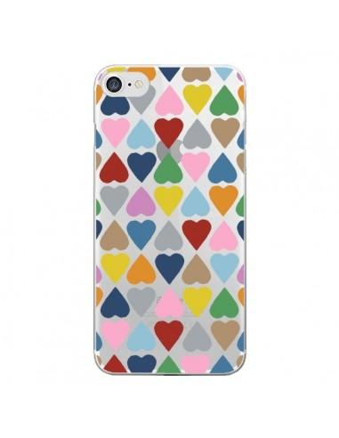 Coque iPhone 7 et 8 Coeurs Heart Couleur Transparente - Project M