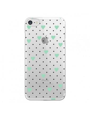 Coque iPhone 7 et 8 Point Coeur Mint Bleu Vert Pin Point Heart Transparente - Project M