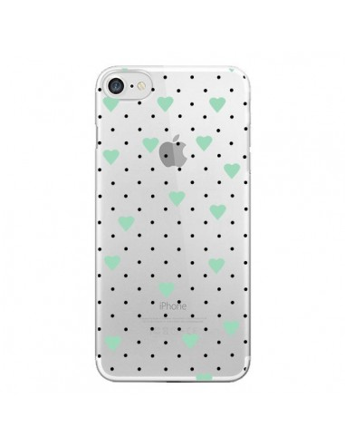 Coque Point Coeur Mint Bleu Vert Pin Point Heart Transparente pour iPhone 7 et 8 - Project M