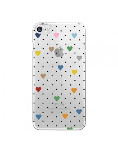 Coque iPhone 7 et 8 Point Coeur Coloré Pin Point Heart Transparente - Project M