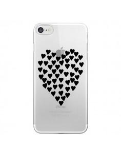 Coque Coeurs Heart Love Noir Transparente pour iPhone 7 et 8 - Project M