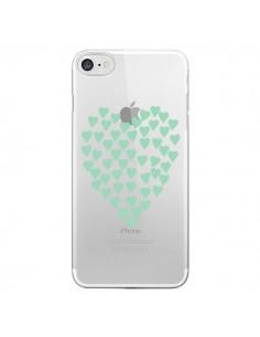 Coque iPhone 7/8 et SE 2020 Coeurs Heart Love Mint Bleu Vert Transparente - Project M
