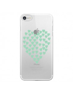 Coque iPhone 7 et 8 Coeurs Heart Love Mint Bleu Vert Transparente - Project M