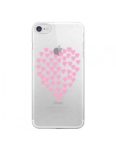 Coque Coeurs Heart Love Rose Pink Transparente pour iPhone 7 et 8 - Project M