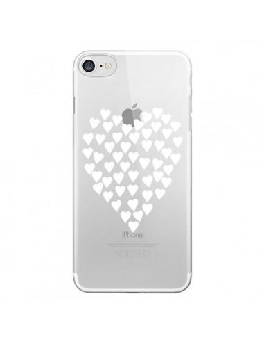 Coque iPhone 7 et 8 Coeurs Heart Love Blanc Transparente - Project M