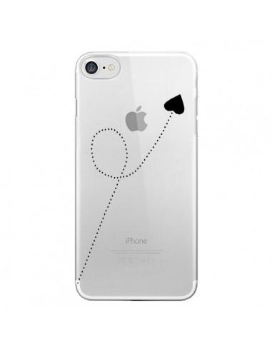 Coque iPhone 7/8 et SE 2020 Travel to your Heart Noir Voyage Coeur Transparente - Project M