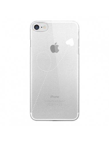 Coque iPhone 7 et 8 Travel to your Heart Blanc Voyage Coeur Transparente - Project M