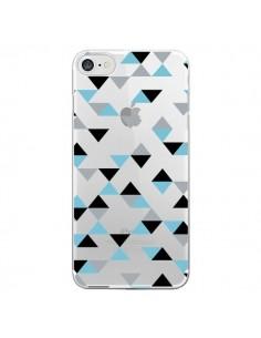 Coque Triangles Ice Blue Bleu Noir Transparente pour iPhone 7 et 8 - Project M