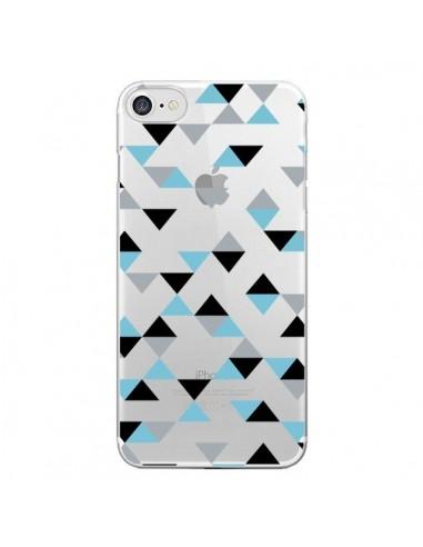 Coque iPhone 7 et 8 Triangles Ice Blue Bleu Noir Transparente - Project M