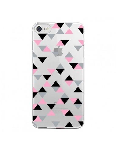 Coque iPhone 7 et 8 Triangles Pink Rose Noir Transparente - Project M