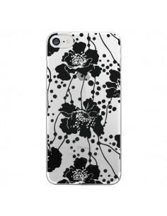 Coque Fleurs Noirs Flower Transparente pour iPhone 7 - Dricia Do