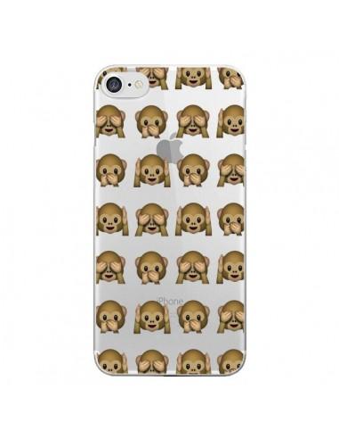Coque iPhone 7 et 8 Singe Monkey Emoticone Emoji Transparente - Laetitia
