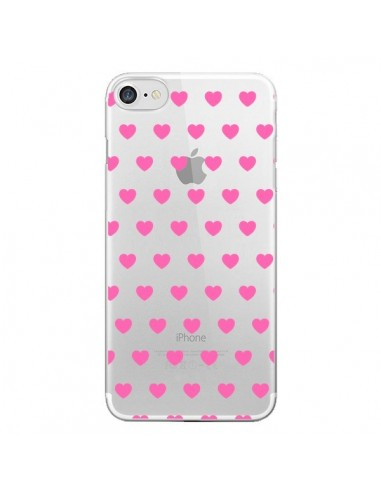 Coque iPhone 7 et 8 Coeur Heart Love Amour Rose Transparente - Laetitia