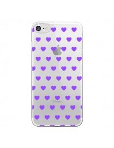 Coque iPhone 7 et 8 Coeur Heart Love Amour Violet Transparente - Laetitia