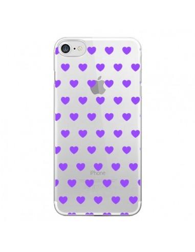 Coque Coeur Heart Love Amour Violet Transparente pour iPhone 7 et 8 - Laetitia