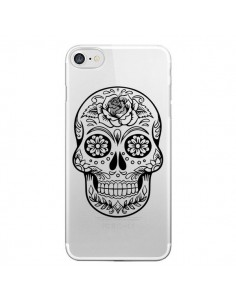 Coque Tête de Mort Mexicaine Noir Transparente pour iPhone 7 et 8 - Laetitia