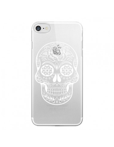 Coque iPhone 7 et 8 Tête de Mort Mexicaine Blanche Transparente - Laetitia