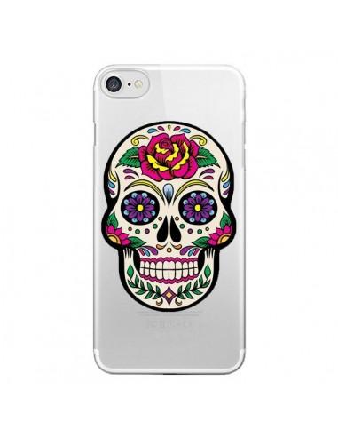 Coque Tête de Mort Mexicaine Fleurs Transparente pour iPhone 7 et 8 - Laetitia