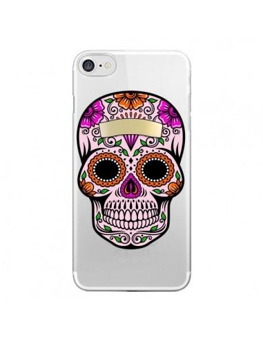 Coque iPhone 7 et 8 Tête de Mort Mexicaine Noir Rose Transparente - Laetitia