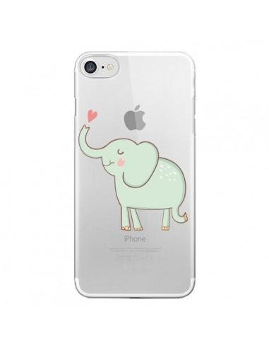 Coque iPhone 7 et 8 Elephant Elefant Animal Coeur Love Transparente - Petit Griffin