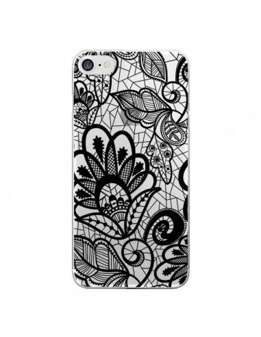 Coque Lace Fleur Flower Noir Transparente pour iPhone 7 et 8 - Petit Griffin