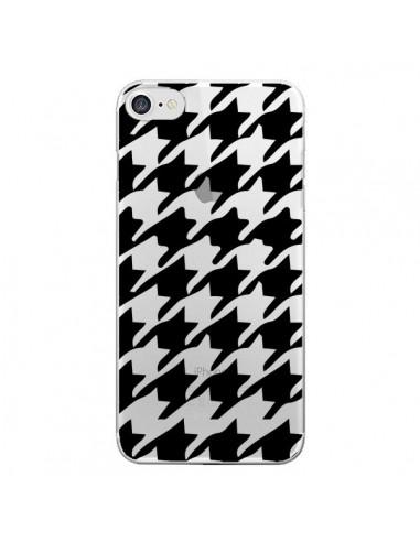 Coque iPhone 7 et 8 Vichy Gros Carre noir Transparente - Petit Griffin