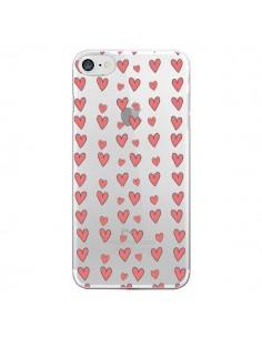 Coque Coeurs Heart Love Amour Rouge Transparente pour iPhone 7 - Petit Griffin