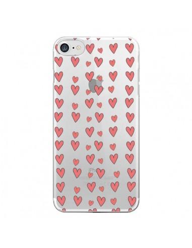 Coque iPhone 7 et 8 Coeurs Heart Love Amour Rouge Transparente - Petit Griffin