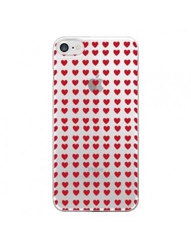 Coque Coeurs Heart Love Amour Red Transparente pour iPhone 7 et 8 - Petit Griffin