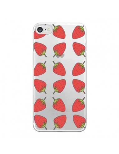 Coque Fraise Fruit Strawberry Transparente pour iPhone 7 et 8 - Petit Griffin