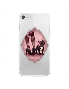 Coque iPhone 7/8 et SE 2020 Lady Jambes Chien Bulldog Dog Rose Pois Noir Transparente - Maryline Cazenave