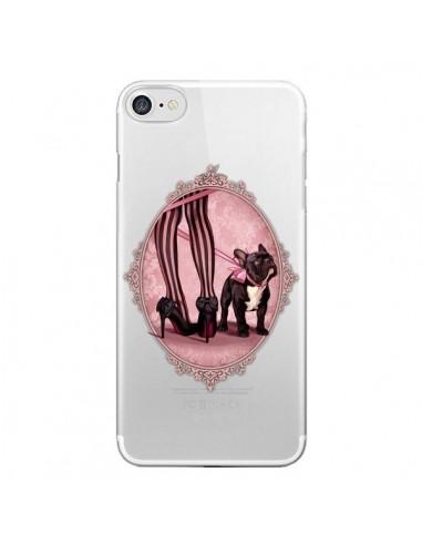 Coque Lady Jambes Chien Bulldog Dog Rose Pois Noir Transparente pour iPhone 7 et 8 - Maryline Cazenave