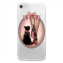Coque iPhone 7/8 et SE 2020 Lady Chat Noeud Papillon Pois Chaussures Transparente - Maryline Cazenave
