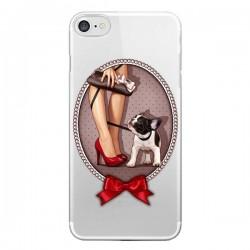Coque iPhone 7/8 et SE 2020 Lady Jambes Chien Bulldog Dog Pois Noeud Papillon Transparente - Maryline Cazenave