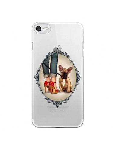 Coque iPhone 7 et 8 Lady Jambes Chien Bulldog Dog Transparente - Maryline Cazenave