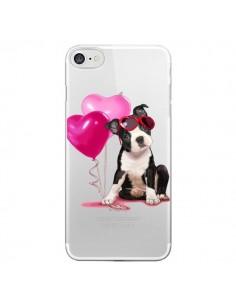 Coque Chien Dog Ballon Lunettes Coeur Rose Transparente pour iPhone 7 et 8 - Maryline Cazenave