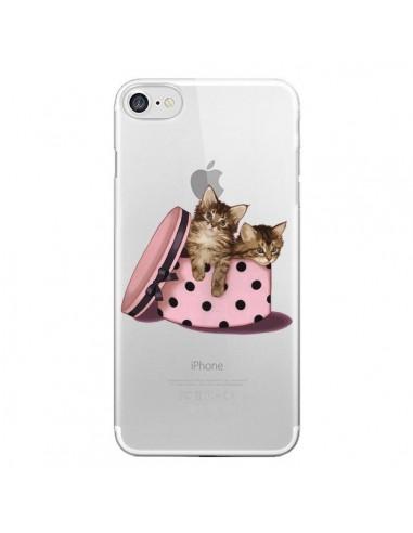 Coque Chaton Chat Kitten Boite Pois Transparente pour iPhone 7 et 8 - Maryline Cazenave