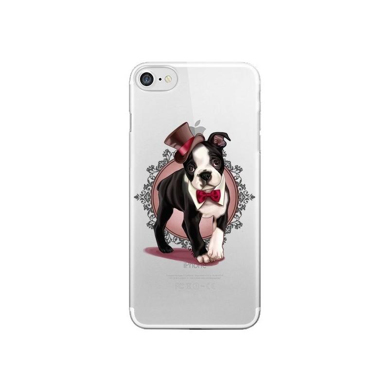 Coque Chien Bulldog Dog Gentleman Noeud Papillon Chapeau Transparente pour iPhone 7 et 8 - Maryline Cazenave