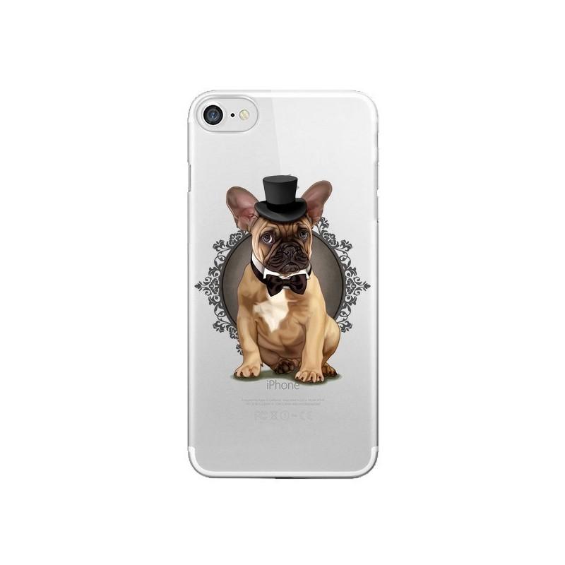 Coque Chien Bulldog Noeud Papillon Chapeau Transparente pour iPhone 7 et 8 - Maryline Cazenave