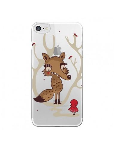 Coque iPhone 7 et 8 Le Petit Chaperon Rouge Loup Hello Big Wolf Transparente - Maria Jose Da Luz