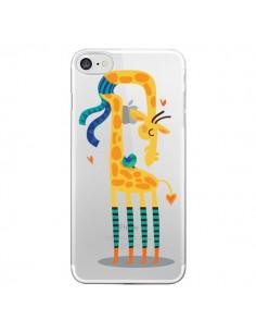 Coque L'oiseau et la Girafe Amour Love Transparente pour iPhone 7 - Maria Jose Da Luz