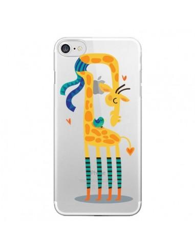 Coque L'oiseau et la Girafe Amour Love Transparente pour iPhone 7 et 8 - Maria Jose Da Luz