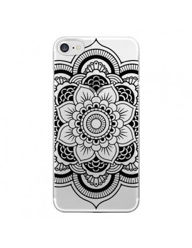 coque iphone 7 8 se 2020 mandala noir azteque transparente nico